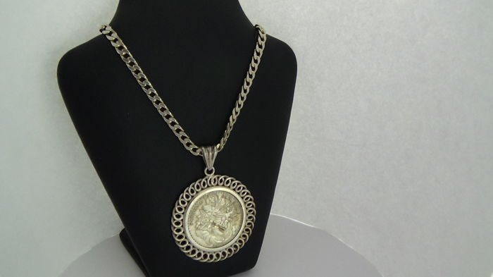 Silver 1760 Patrona Bavariae Coin Pendant On Necklace Pendant