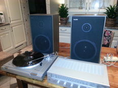 Gorgeous vintage 1985 Erres receiver RT534 + Erres record-player RT134 + 60 watt Philips 2-way speakers F9227/00Z.