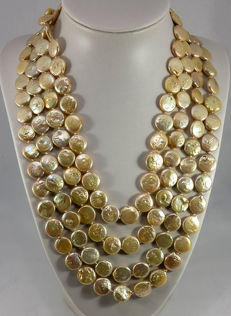 Cultured pearl necklace gold-coloured coin shape Ø 11.5 - 12.5 mm from Southeast Asia - endless necklace, extra long approx. 244 cm