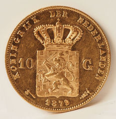 The Netherlands - 10 guilder 1879/77 year modification - Willem III - gold