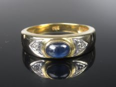 1960 gold ring with sapphire and diamond