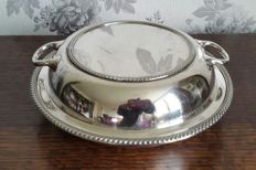 Round silver plated serving plate with lid and decorated edge by Graham & Morton Sterling
