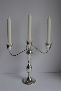 Large silver three-light candle stand, double usage, Duchin, United States, 20th century