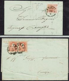 Lombardy-Venetia 1850 - Two letters with the 15 cent. of 1st print run and two specimens of the 15 cent. Type 1 of the 2nd print run - Sass.  No.  6 and 25