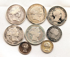 Spain - Isabel II - LOT of 8 silver coins - Madrid - Sevilla -