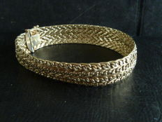 14 kt yellow gold women's bracelet, 30 g, 20 cm long, 14 mm wide