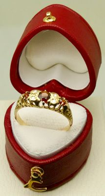 Antique Victorian Garnet & rose diamonds ring 18kt gold - NO reserve