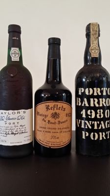 "20 year old Tawny Port Taylor's - bottled in 1994 & 1975 Vintage Port Pocas Junior ""Reflets du Haut Douro"" & 1980 Vintage Port Barros - 3 bottles in total"