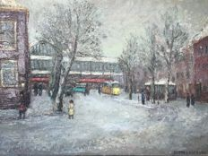 "Bernard Jan ( Benno ) Logtenberg  (1909–1980) - ""Stationsplein Haarlem in de Winter 1952"""