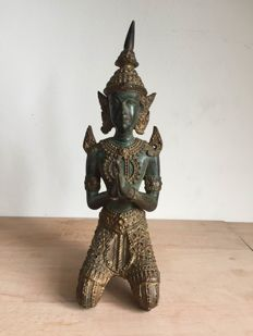 Bronze praying buddha - Thailand - late 20th century
