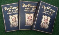 WW I; DER KRIEG 1914-1919 in Wort und Bild - Battles of the Great War - [1914-1918] - 3 volumes - printed 1917/19