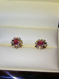Magic Earrings with Diamonds, 0.24 ct , and Rubies, 1ct