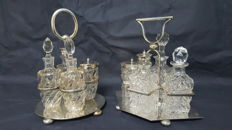 Two victorian oliviera glass with Decorative Holder in Solid Silver plated - D & A  and Joseph Rodgers & Son Sheffield