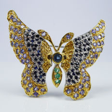 Royal Butterfly with natural Sapphires, Tanzanites & Emeralds - Brooch ***No reserve price***