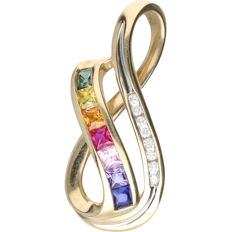 10 kt - Yellow gold pendant set with citrine, topaz, ruby, sapphire, beryl and 8 brilliant cut diamonds of approx. 0.08 ct in total - Length x width: 3.4 x 1.5 cm