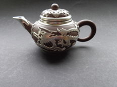Yixing teapot decorated with a silver dragon, 19th century, China