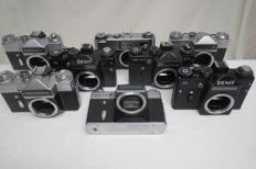 "Lot of six working cameras ""ZENIT"" of various models - without lenses.As a gift, one is not working - as a donor+ FED-5В working"
