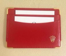 Rolex credit card holder in red leather, original and new