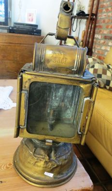 old French copper signalling lamp train railways SNCF carbide lamp