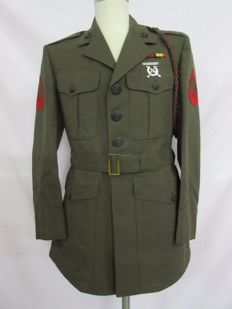 U.S. Marine Corps service dress with awards and garrison cap and aiguillette