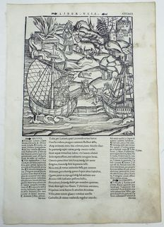 Gruninger Master; Virgil - Crespin Edition; Galleons, Turnus and Aeneas gather their troops, river god Tiberinus - 1529