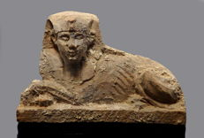 Egyptian hard wood sarcophagus applique depicting sphinx- 87mm
