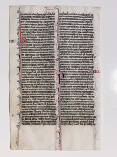 Manuscript; Illuminated handwritten leaf from a Medieval Bible - 1250