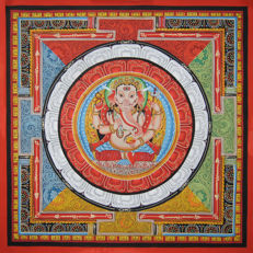 Painting on cotton/canvas depicting Ganesha - Nepal - 21st Century (54 cm)