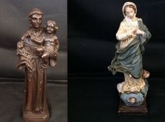 2 - Antique Virgin Holy Mary With Angels On Base - Ca 1900 - Santo António Sculpture in clay - From St Anthony Church in Estoril, Portugal - 1940