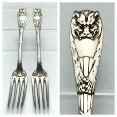 "Lot of 2 Christofle ""Peau de Lion"" main cours forks - ca. 1880 - RARE"