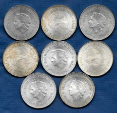 The Netherlands - 10 guilders 1970 and 1973 Juliana (8 pieces) - silver
