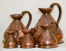 Victorian Copper Gallon Measure Set-England - early 20th century