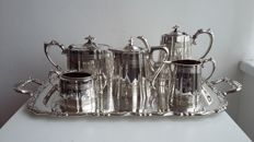 James dixon&sons sheffield silver plated tea pot coffee pot set 5 pieces +tray oneida usa  decoration circa 1850/1887 made in england.