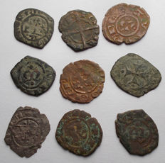 Italian Mints - Lot of 9 coins Swabian and Aragonese, 12th Century