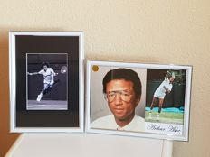 Wimbledon Final 1975 Jimmy Connors - Arthur Ashe (RIP) - 2 hand signed framed photo's from both players + COA