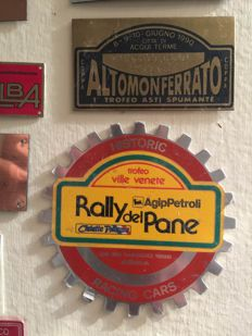 Metal plates, awards for classic car races