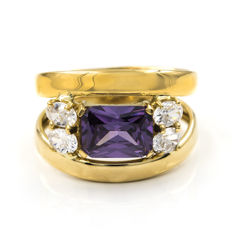 18 kt yellow gold - Cocktail ring - Cut amethyst - Ring size: 14 (Spain)