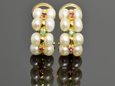 Gold earrings with pearls, rubies and emeralds