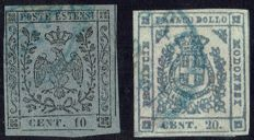 Modena, 1850 – 10 cent, grey, postage due for newspaper; 20 cent. Purplish slate grey – Sass. Nos. 4 and 15