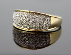 Vintage 9K Yellow Gold Ring With Diamonds (0.60 CT Total), By MJ, London C.1970's