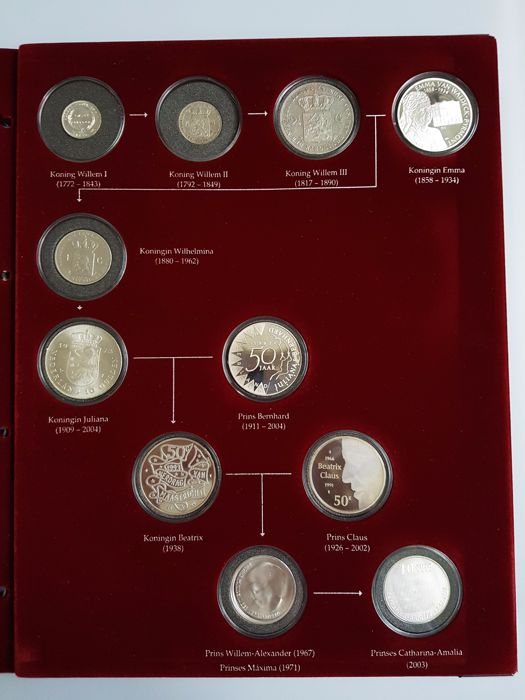 The Netherlands and Dutch East Indies - ¼ guilder through 10 euro 1840/2003 Royal Pedigree - silver