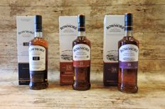 Bowmore 12 YO - 15 YO - 18 YO - 3 Bottles in original boxes