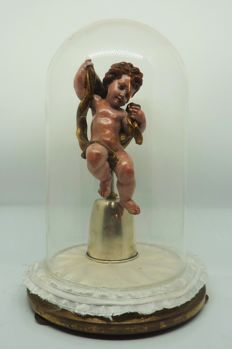 Wooden angel with glass dome and silver base - 19th century - Central Italy - circa 1950