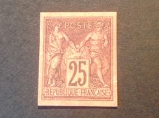 Ex- French Colony 1878 - 25 c. Black on red, signed and certified by Calves - Yvert n° 43