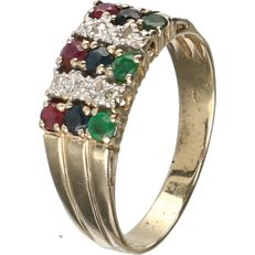 14 kt Yellow gold ring set with a ruby, emerald, sapphire and 6 brilliant cut diamonds of approx. 0.06 ct in total - ring size: 18 mm