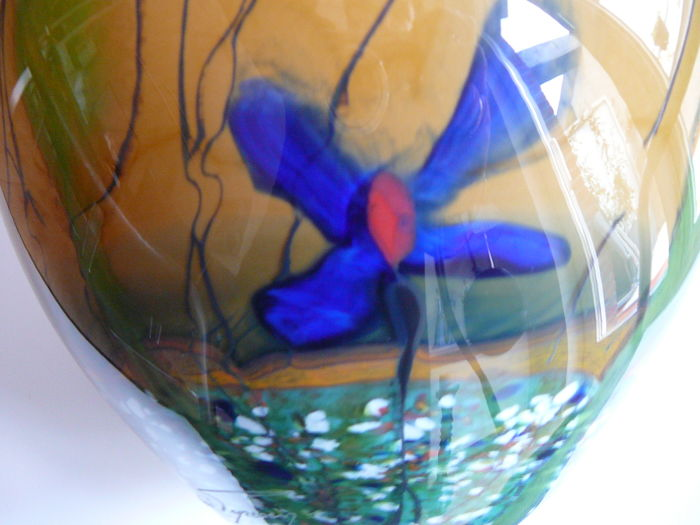 Glass Vase With A Polychrome Flower Decoration Of Blue Flowers On A