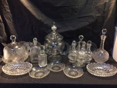 Collection of cut glass objects for a dining table - England circa 1890 and later