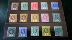 Cayman Islands King George V 1912/20 - set of 13 on a stock card