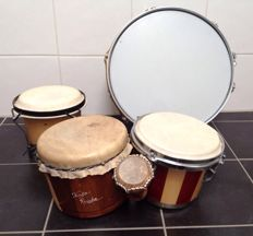 4 bongos and drum