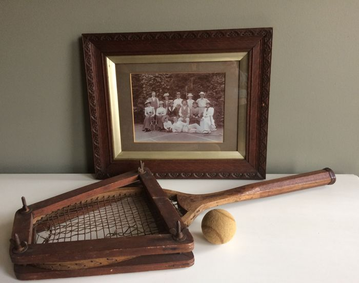 Tennis racket - tennis ball - tennis photo with original frame